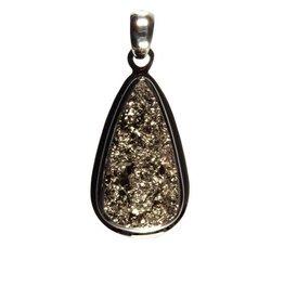 Zilveren hanger pyriet druppel 2,4 x 1,3 cm