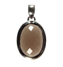 Zilveren hanger rookkwarts ovaal facet 2,1 x 1,5 cm