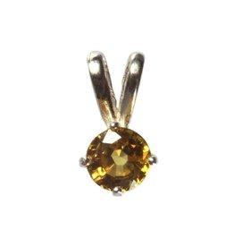 Zilveren hanger saffier (geel) facet klein 5 mm