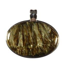 Zilveren hanger serafiniet (goud) liggende ovaal 3,8 x 2,6 cm
