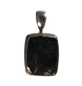 Zilveren hanger shungiet (edel) ruw 2 x 1,5 cm