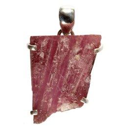 Zilveren hanger toermalijn (roze) ruw 2,7 x 2,1 cm