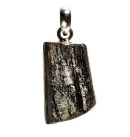 Zilveren hanger toermalijn (zwart) ruw 2,8 x 1,6 cm