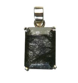 Zilveren hanger toermalijnkwarts rechthoek gezet