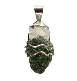 Zilveren hanger moldaviet en Herkimer diamant 4 x 1,7 cm