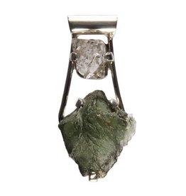 Zilveren hanger moldaviet en Herkimer diamant 4,1 x 2 cm