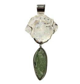 Zilveren hanger moldaviet en Herkimer diamant 5 x 2,1 cm