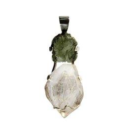 Zilveren hanger moldaviet en Herkimer diamant 5,3 x 2,1 cm