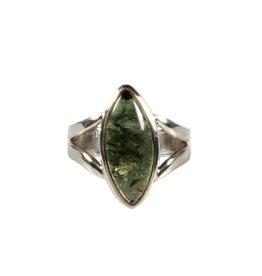 Zilveren ring moldaviet maat 17 1/4 | markies 2 x 0,8 cm
