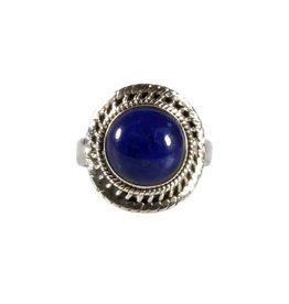 Zilveren ring lapis lazuli maat 16 3/4 | rond 1 cm