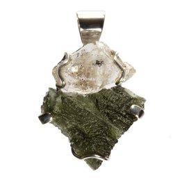 Zilveren hanger moldaviet en Herkimer diamant | 3,8 x 2,5 cm