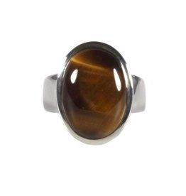 Zilveren ring tijgeroog maat 18 | ovaal 1,8 x 1,3 cm