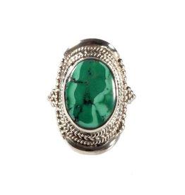Zilveren ring turkoois maat 19 1/2   ovaal 1,7 x 1,3 cm (2)