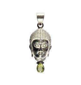 Zilveren hanger peridoot boeddha