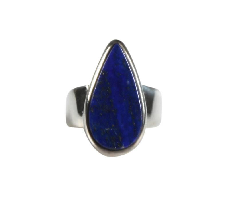 Zilveren ring lapis lazuli maat 17 | druppel 2 x 1 cm