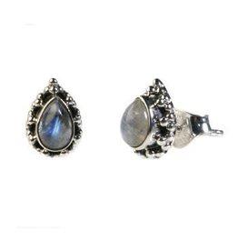 Zilveren oorstekers maansteen (regenboog) druppel bolletjes