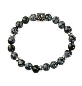 Zilveren armband obsidiaan (sneeuwvlok) met bedel steenbok glad
