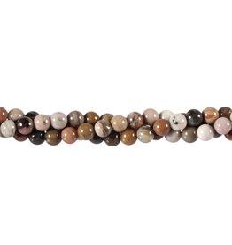 Versteend hout kralen rond 6 mm (snoer van 40 cm)