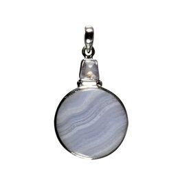 Zilveren hanger chalcedoon en maansteen (regenboog) | rond 2,5 cm