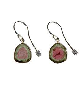 Zilveren oorbellen toermalijn (watermeloen) schijfjes