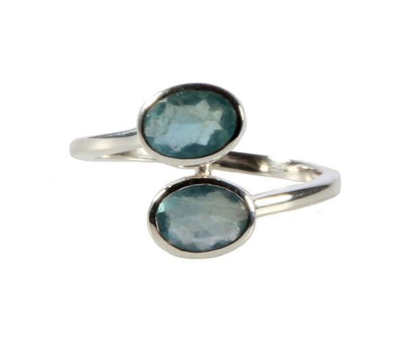 Zilveren ring apatiet maat 19 1/2 | 2 ovalen