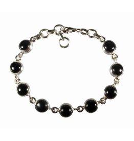 Zilveren armband onyx | rond 9 stenen