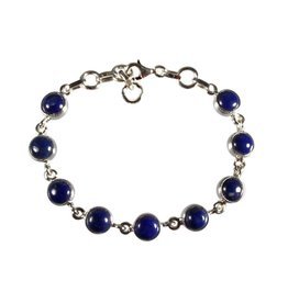 Zilveren armband lapis lazuli | rond 9 stenen