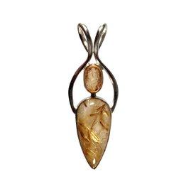 Zilveren hanger rutielkwarts en topaas (goud) kristal   5,8 x 1,8 cm
