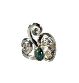 Zilveren ring indigoliet (blauwe toermalijn) en aquamarijn maat 17 | ovaal 7 x 5 mm