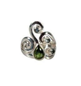 Zilveren ring moldaviet en aquamarijn maat 18   druppel 7 x 5 mm