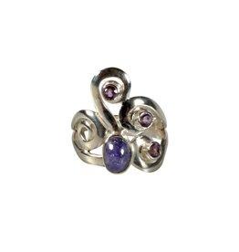 Zilveren ring tanzaniet en amethist maat 17 | ovaal 7 x 5 mm