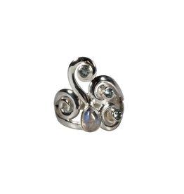 Zilveren ring maansteen (regenboog) en aquamarijn maat 17 1/2 | druppel 7 x 5 mm