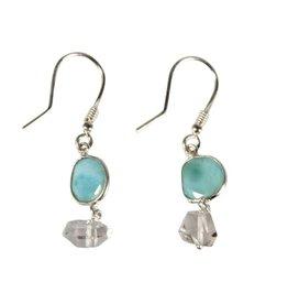 Zilveren oorbellen larimar (facet) en Herkimer diamant (kristal)
