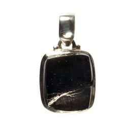 Zilveren hanger shungiet (edel) ruw 1,8 x 1,4 cm