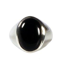 Zilveren ring onyx maat 21 | ovaal 17 x 13 mm