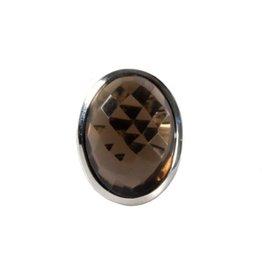 Zilveren ring rookkwarts maat 18 | ovaal facet 2,1 x 1,5 cm