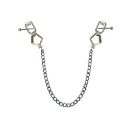 "KIOTOS Leather Metal Alligator Clip ""special"" with chain Silver"