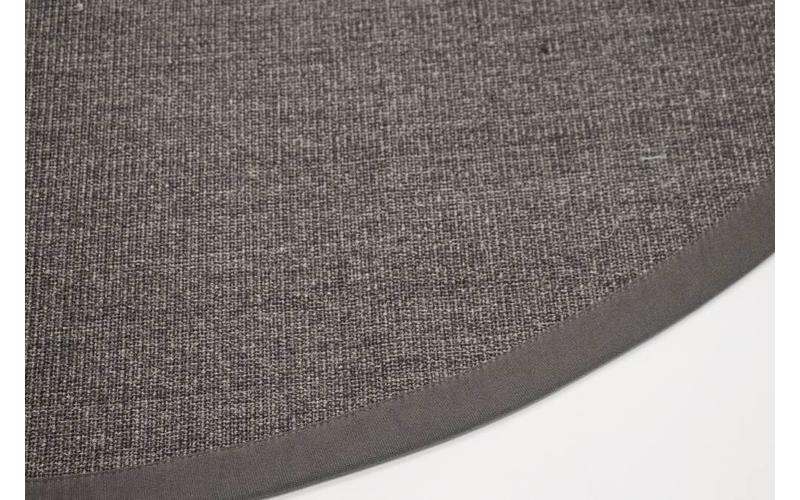 sisal teppich premium 24 anthrazit rund mit hochwertiger bord re aus baumwolle floorpassion. Black Bedroom Furniture Sets. Home Design Ideas