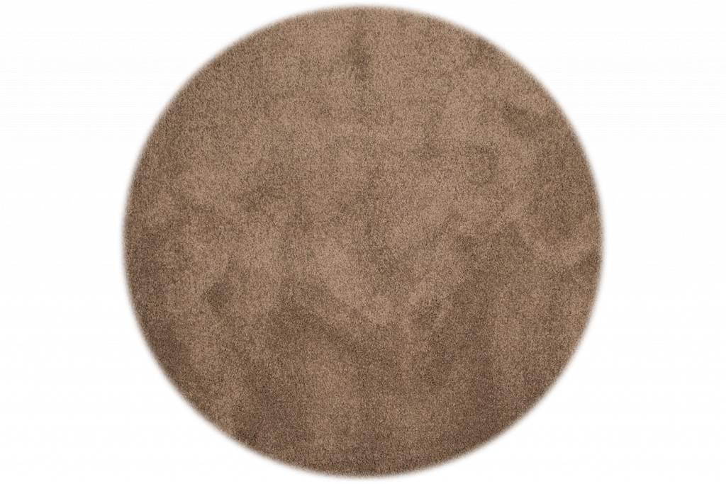 sch ner und weicher hochflor teppich liv 15 rund in hellbraun floorpassion. Black Bedroom Furniture Sets. Home Design Ideas