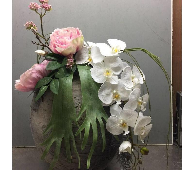 Zijden bloemstuk pioenroos