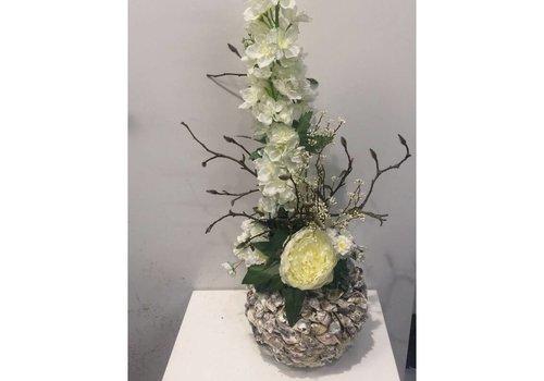 Zijden bloemstuk schelpen