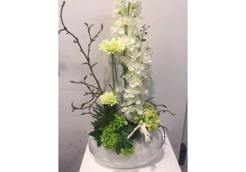 Zijden bloemstuk wit