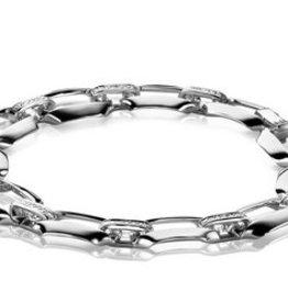 Zinzi Mart Visser by ZINZI zilveren schakelarmband glad MVA2
