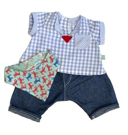Rubens Barn Geruite blouse, spijkerbroek en sjaaltje - Little Rubens / Cosmos