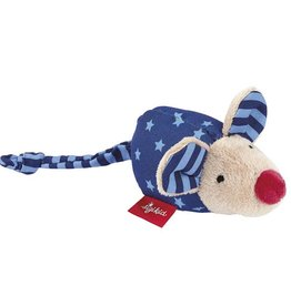 Sigikid Rattle mouse blue, Red Stars