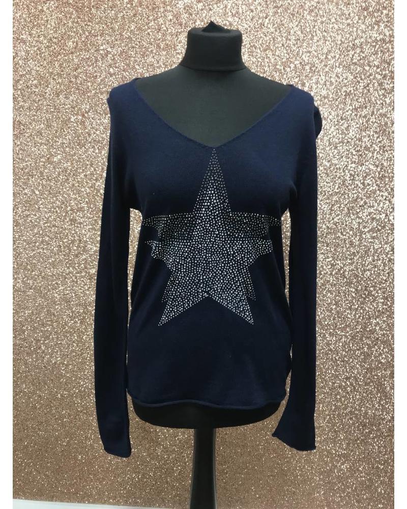 Fine Knit Double Embellished Star Jumper