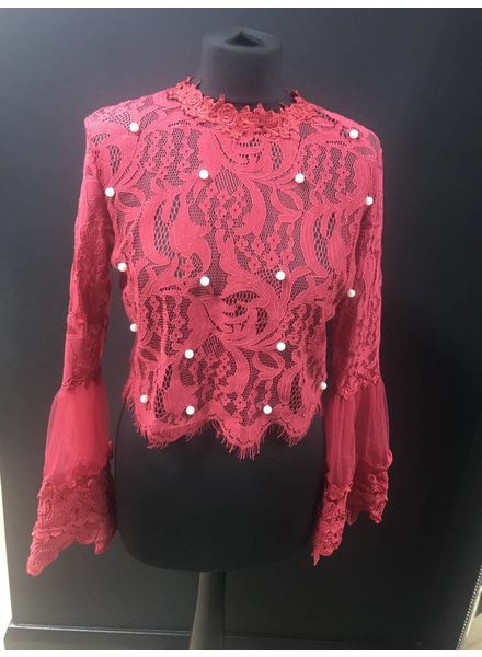 Maya lace bell sleeve cropped top