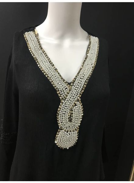 Chyna pearl embellished Fluted Sleeve Top
