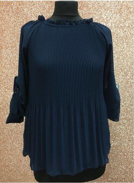 Petal Ruffle neck pleated blouse