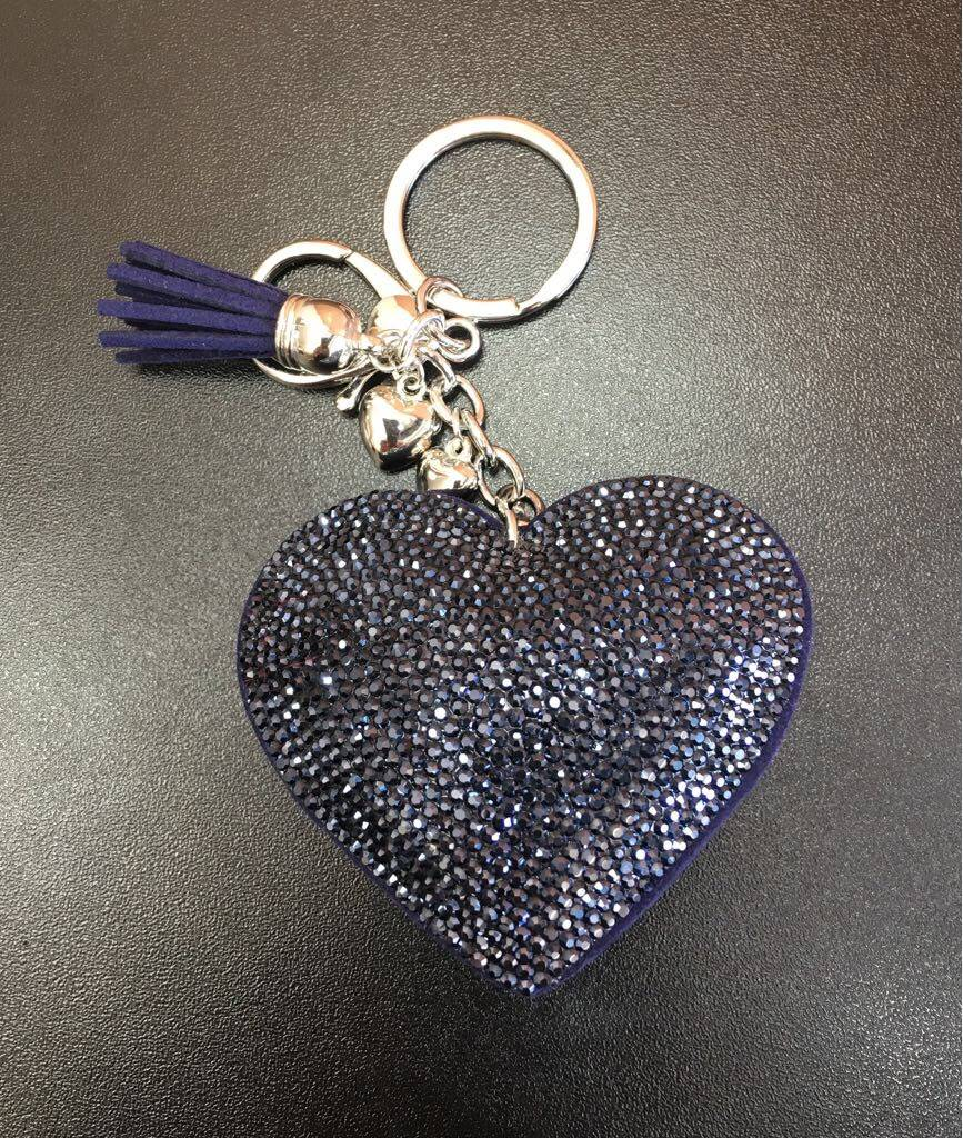 Diamanté Heart Cushion Keyring Mi Chica Boutique Limited